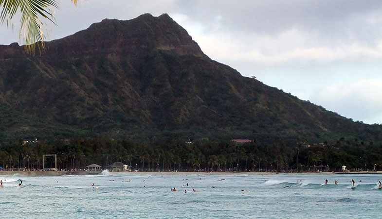 Surfing at Diamond Head